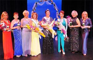 Left to right: Contestants Marilyn Litman; Karen Osburn; Yvonne Zebauers; Claudette Erek, 1st runner up; Sharon Nuanes, MCSA 2014; Diane McKnight Page, 2nd runner up; Camella Landrum; and Marta Leoni