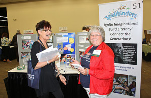 Boulder Valley Spellbinders Chapter Leader Anne Feist and Denver Chapter Leader LaRene Wolfe at the Spellbinders booth during the Boulder Senior Law Day event, held at at Calvary Bible Church in Boulder on August 9th