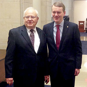 Colorado Senator Michael Bennet is a co-chairman of the newly launched Assisting Caregivers Today Caucus. Don Schierling testified during the launch in Washington, D.C. Bennet and Schierling met during the meeting in D.C.