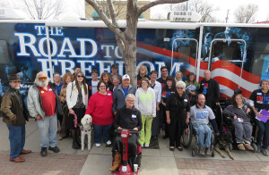 On March 12, 2015, the Road to Freedom Bus visited the Center for People With Disabilities (CPWD) in Longmont and Boulder, CO. The Road to Freedom Bus is on a transcontinental journey, bringing awareness of the Americans with Disabilities Act (ADA) and the barriers people with disabilities face to communities across the country. Its tour will complete on July 26 this year on the steps of the Capitol, in celebration of the 25th anniversary of the ADA becoming law.