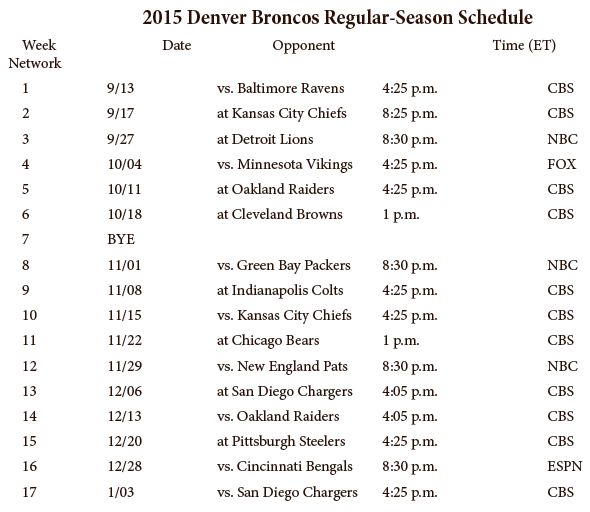 2015 Broncos Schedule