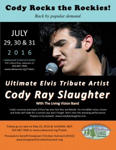 Cody Ray Slaughter performs at the Lakewood Cultural Center, July 29-31, 2016.