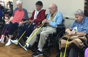 Cliff Stasi, Kathleen Nierman, Fred Mohr, and Tony Spano Broomfield Skilled Nursing & Rehabilitation Center residents exercise in Live 2 B Healthy® class celebration.