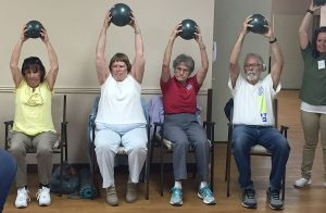 Local Broomfield area residents - Kimberly Hill, Judy Martinez, Marian Seder and Bob Rudland - celebrate National Senior Health & Fitness Day at Broomfield Skilled Nursing and Rehab Center.