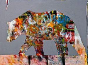 City Bear Light Acrylic painting by Lance Green.