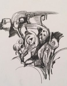 On January 7, artist Victoria Kwasinski will lead a workshop for the Heritage Fine Arts Guild. This drawing exemplifies her expressive style. (Image used by permission.)