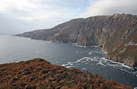 The Slieve League Cliffs, said to be some of the highest in Europe, provide a spectacular vantage point for looking out across the ocean on Ireland's northwest coast.