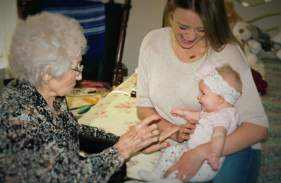 Naomi Ruth Myers, 103 years, with her Great-Granddaughter, and introducing Naomi Blake, 3 months, her Great-Great Granddaughter.