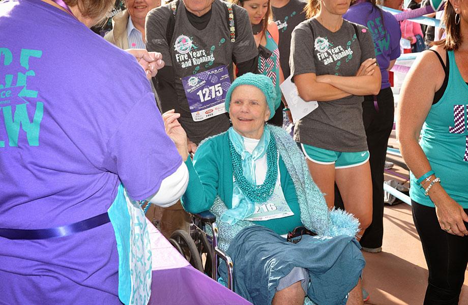 Joan Shrimpton greets well-wishers
